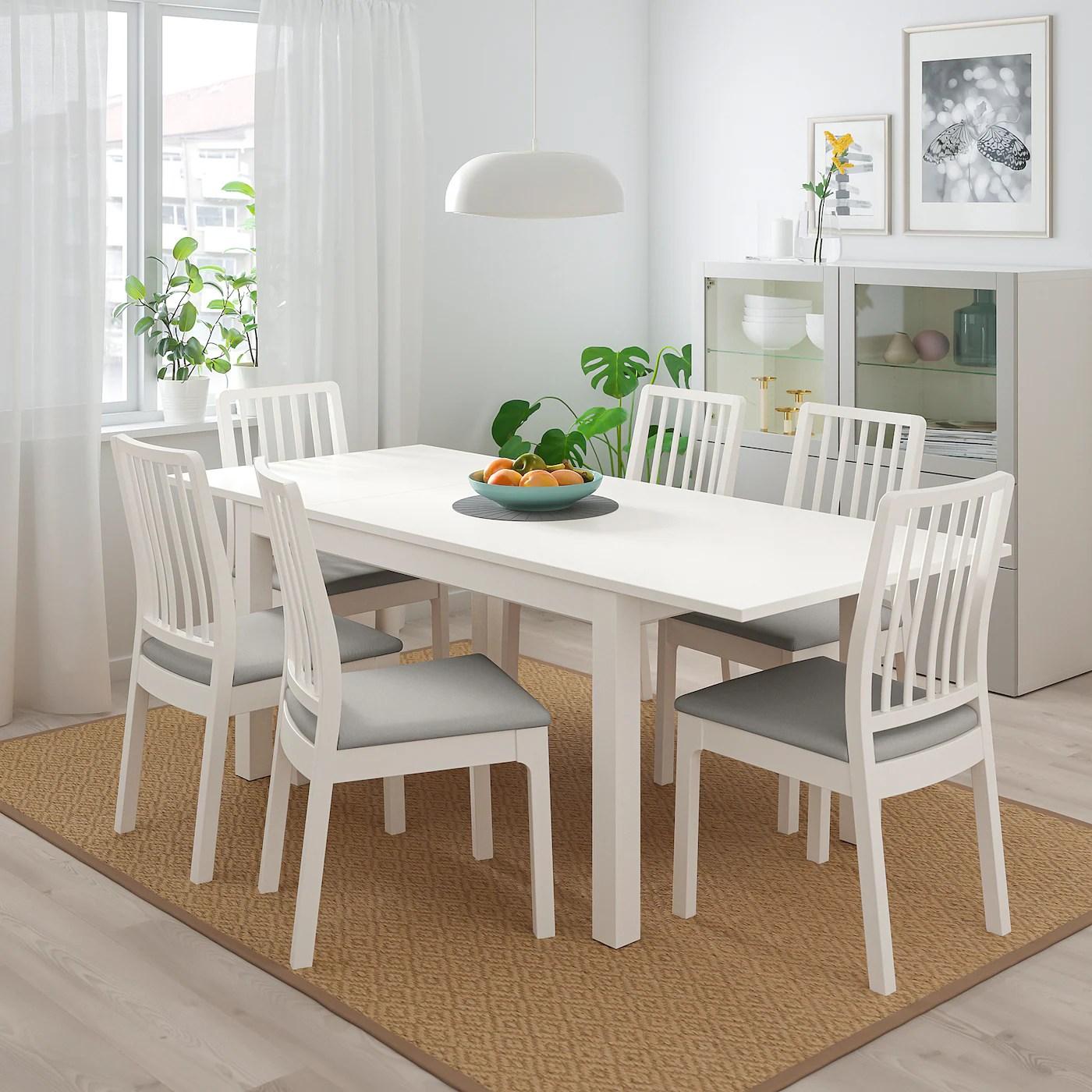 laneberg ekedalen table et 4 chaises blanc blanc gris clair 51 1 8 74 3 4x31 1 2 130 190x80 cm