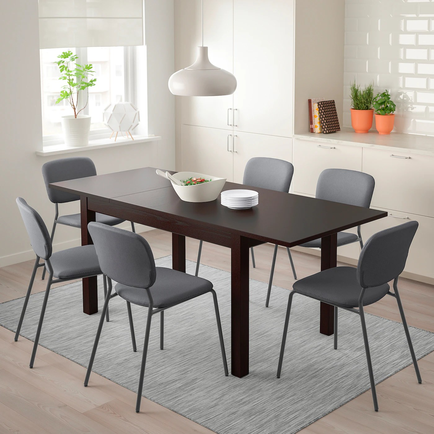 laneberg karljan table et 4 chaises brun gris fonce gris fonce 51 1 8 74 3 4x31 1 2 130 190x80 cm