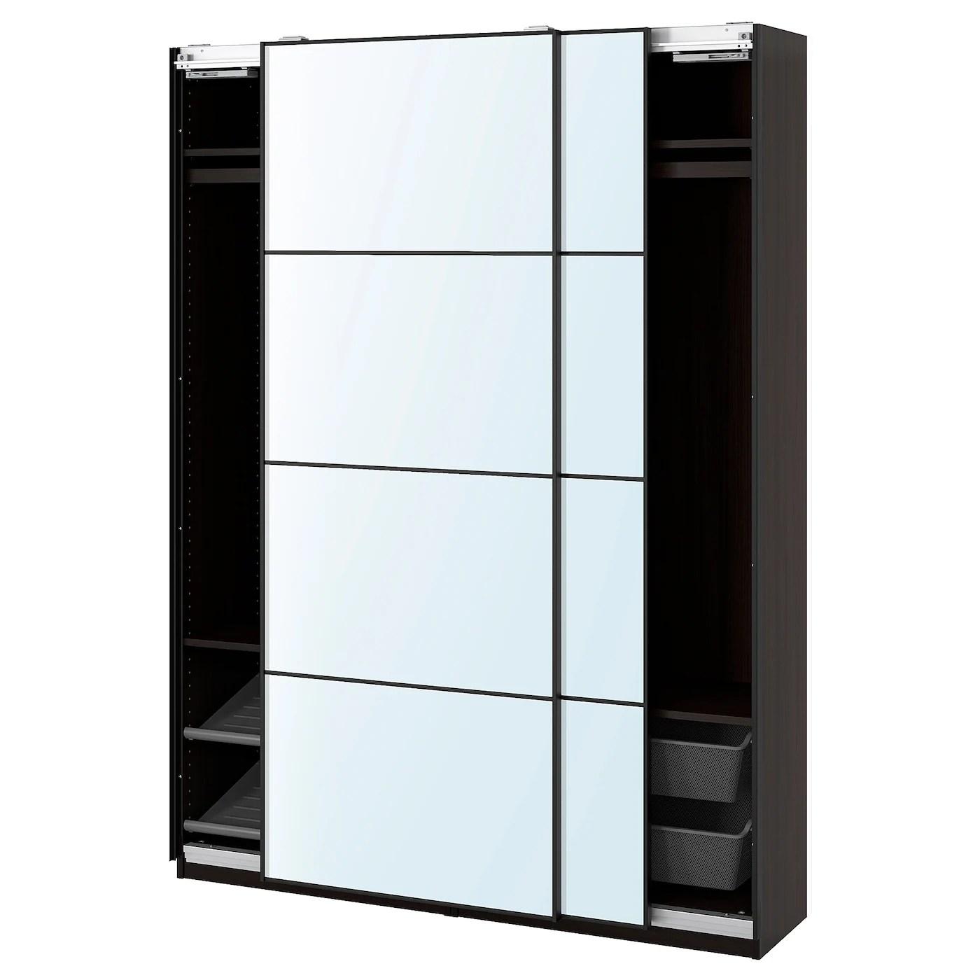Pax Auli Agencement Armoire Penderie Brun Noir Verre Miroir Ikea