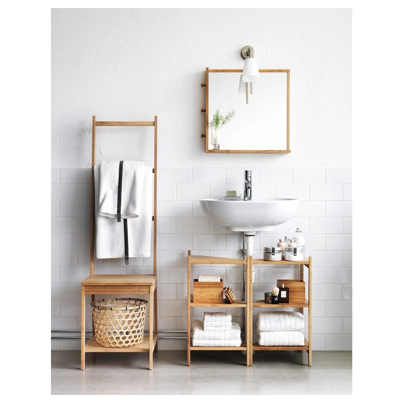 ragrund etagere sous lavabo d angle bambou 13 3 8x23 5 8 34x60 cm