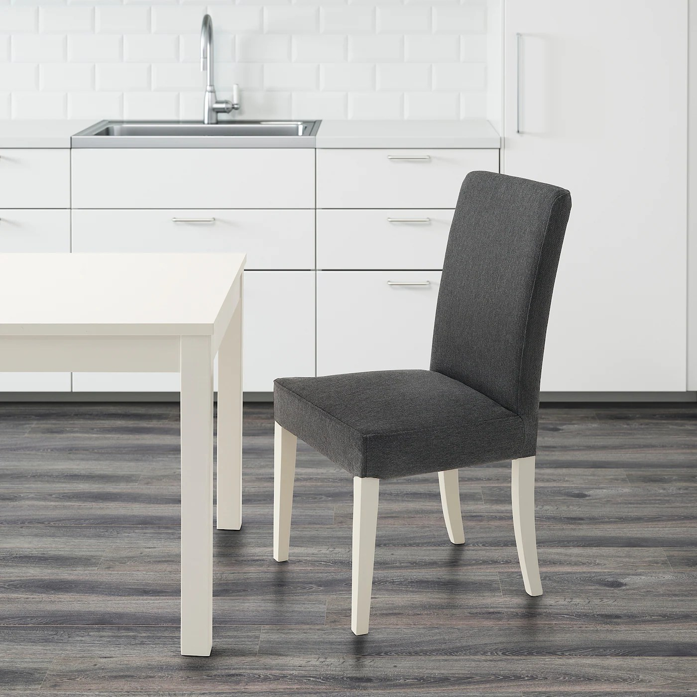 HENRIKSDAL Stuhl   weiß, Dansbo dunkelgrau   IKEA