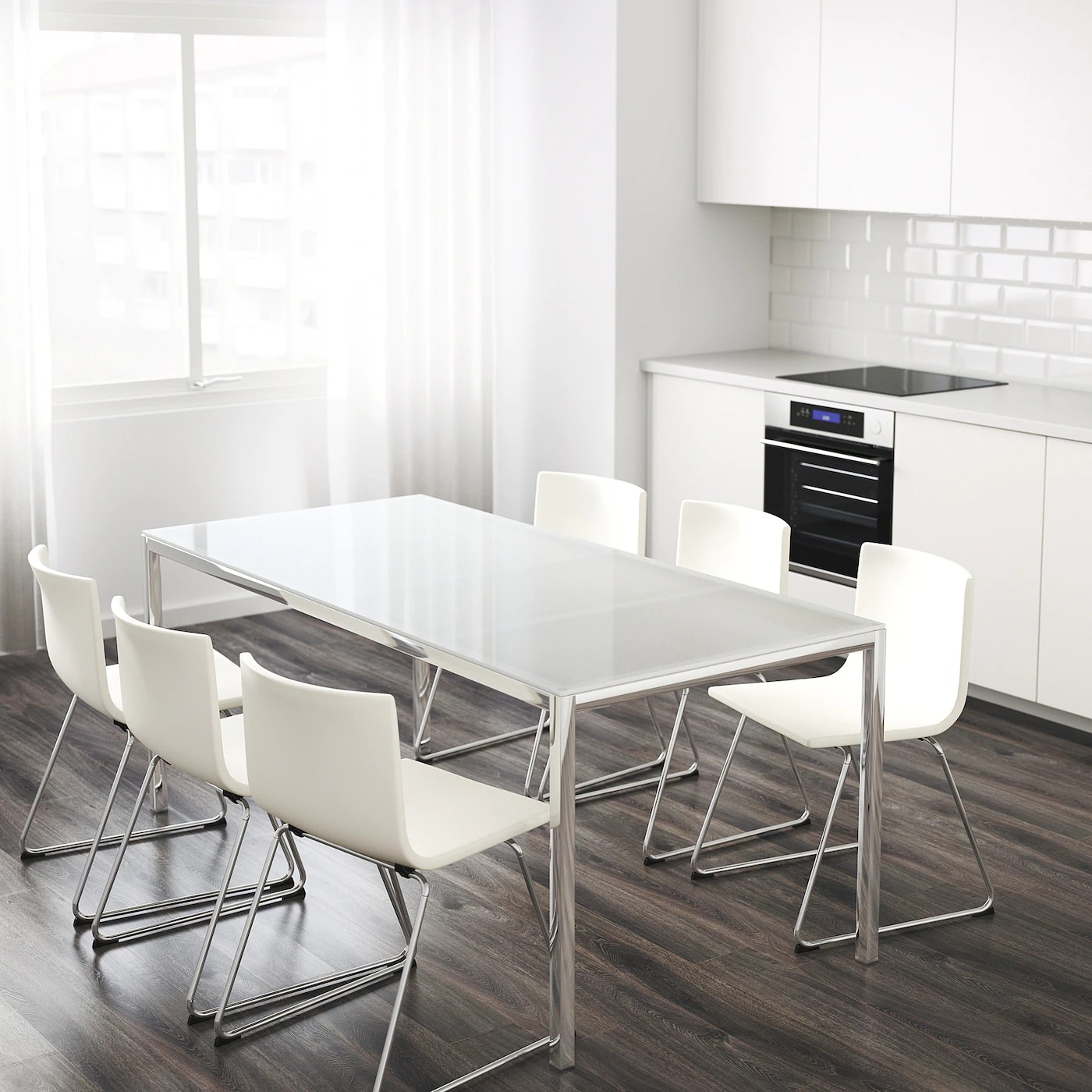 torsby table chrome plated glass white 180x85 cm