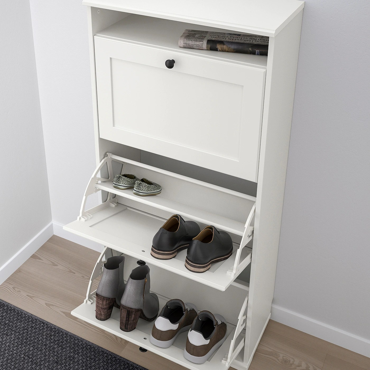 brusali armoire a chaussures 3 casiers blanc 61x130 cm