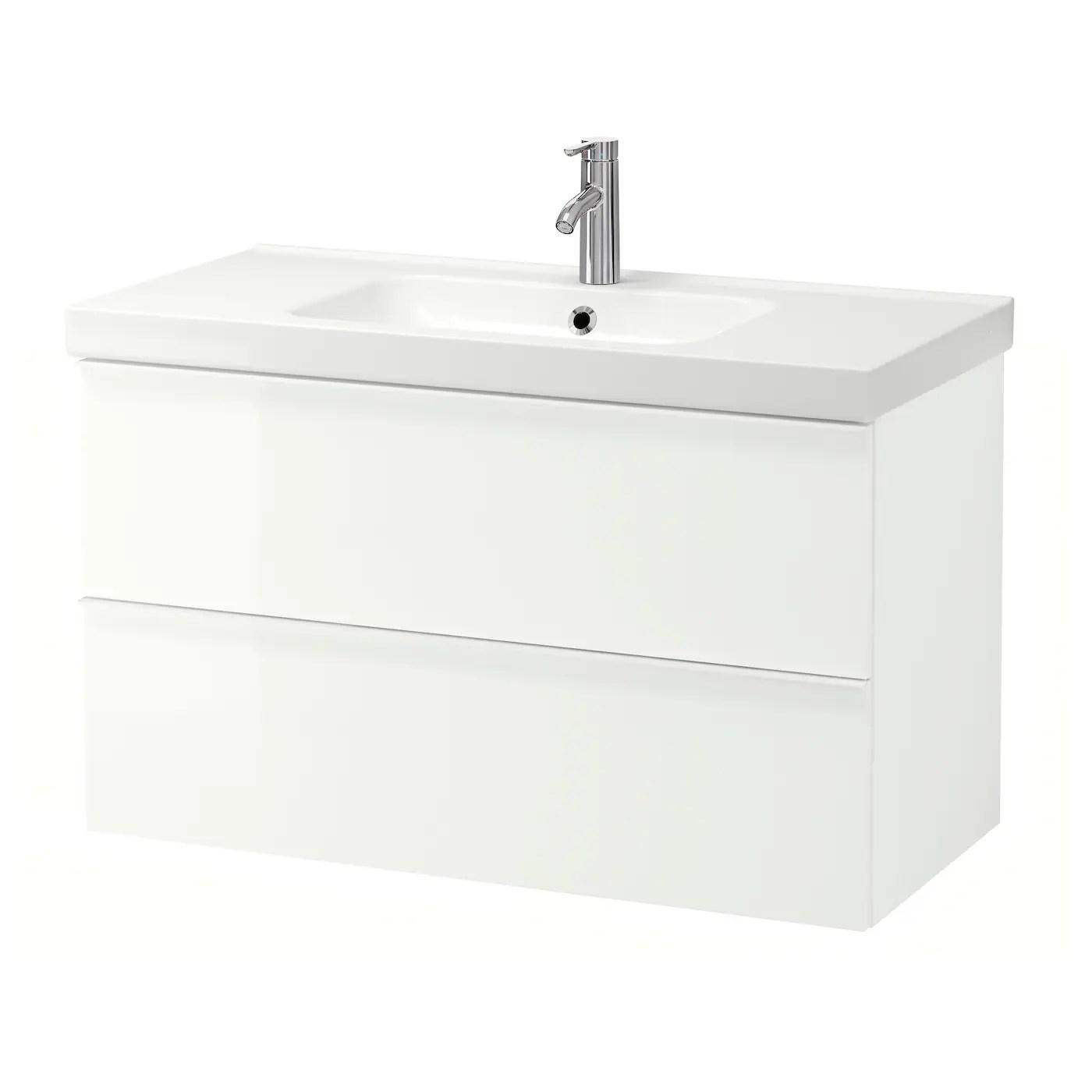Godmorgon Odensvik Skab Til Vask Med 2 Skuffer Hojglans Hvid Dalskar Blandingsbatteri Ikea
