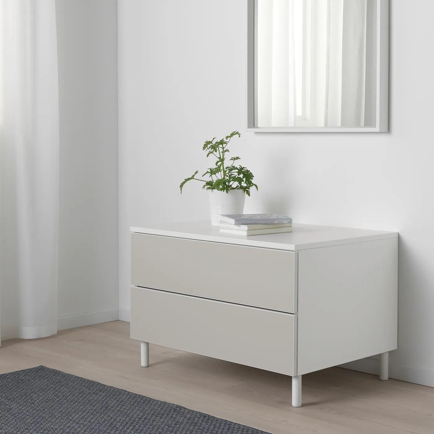Platsa Kommode 2 Skuffer Hvid Skatval Lysegra Ikea