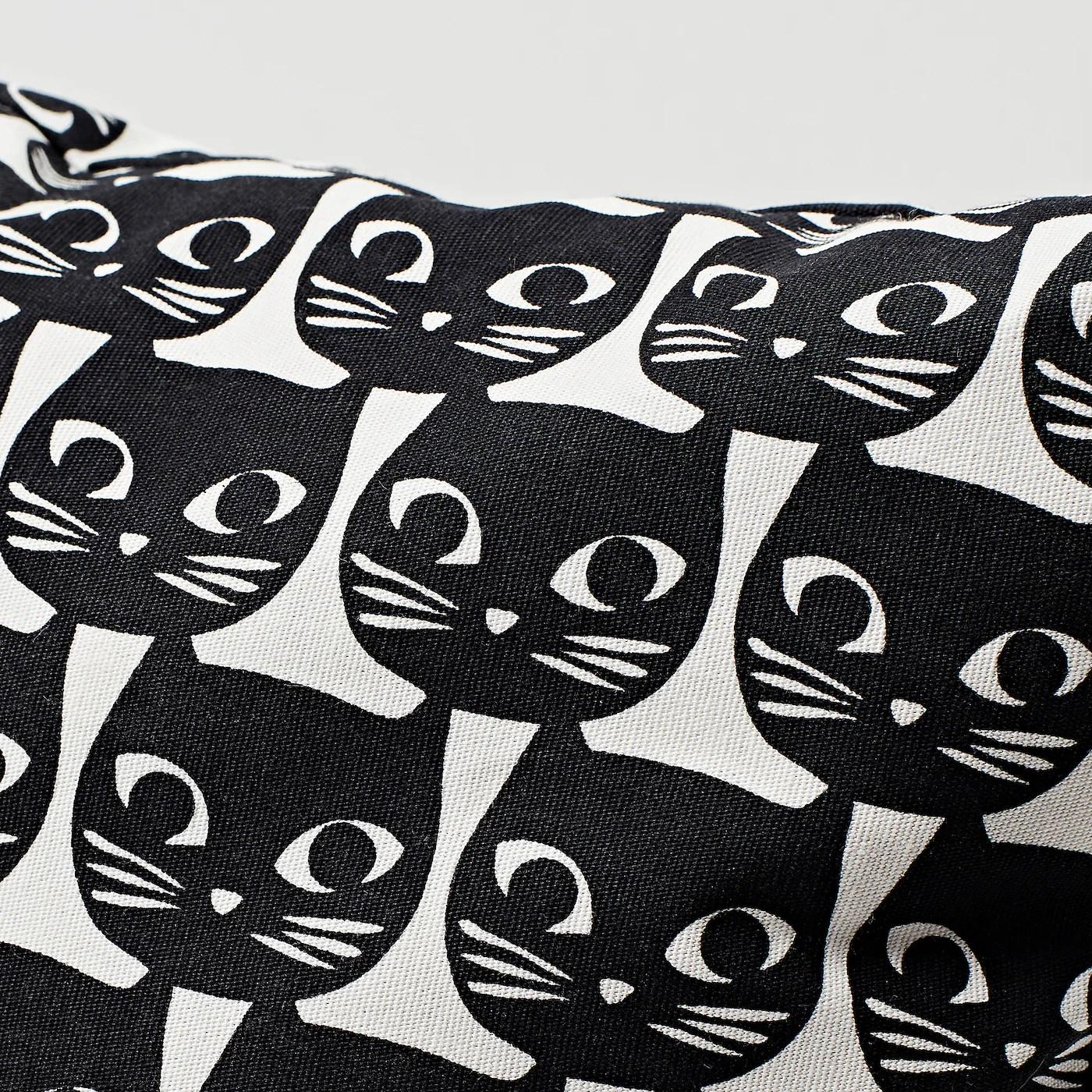 gerdie cushion white black cat 40x40 cm