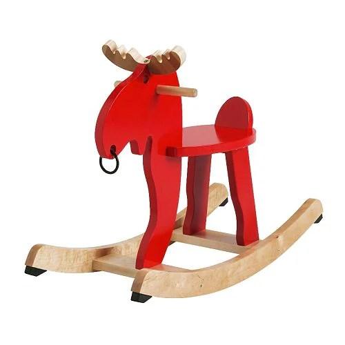 EKORRE Alce balancín, rojo, hevea longitud: 73 cm Ancho: 29 cm Altura: 52 cm