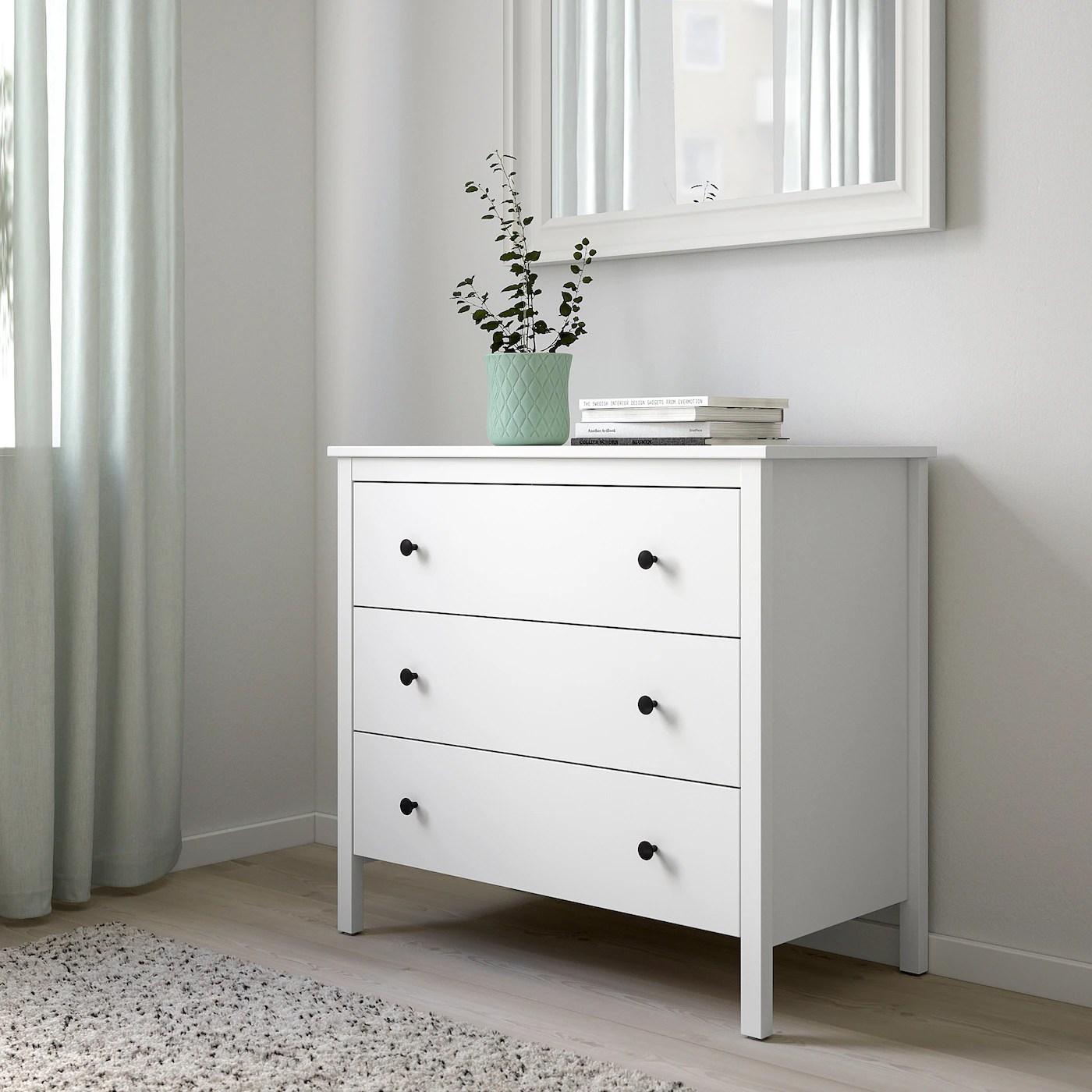 KOPPANG Cómoda de 3 cajones, blanco90x83 cm para dormitorio de matrimonio nórdico de Ikea