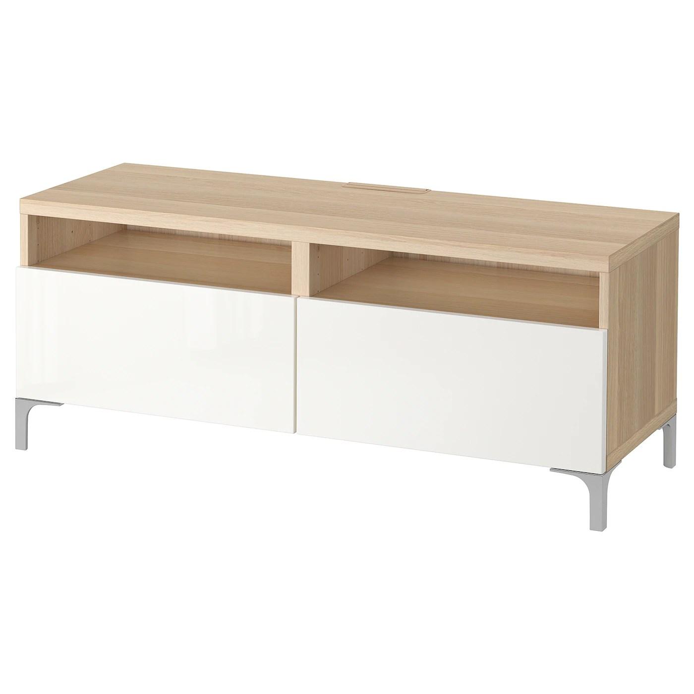 besta banc tv avec tiroirs effet chene blanchi selsviken brillant blanc 120x42x48 cm