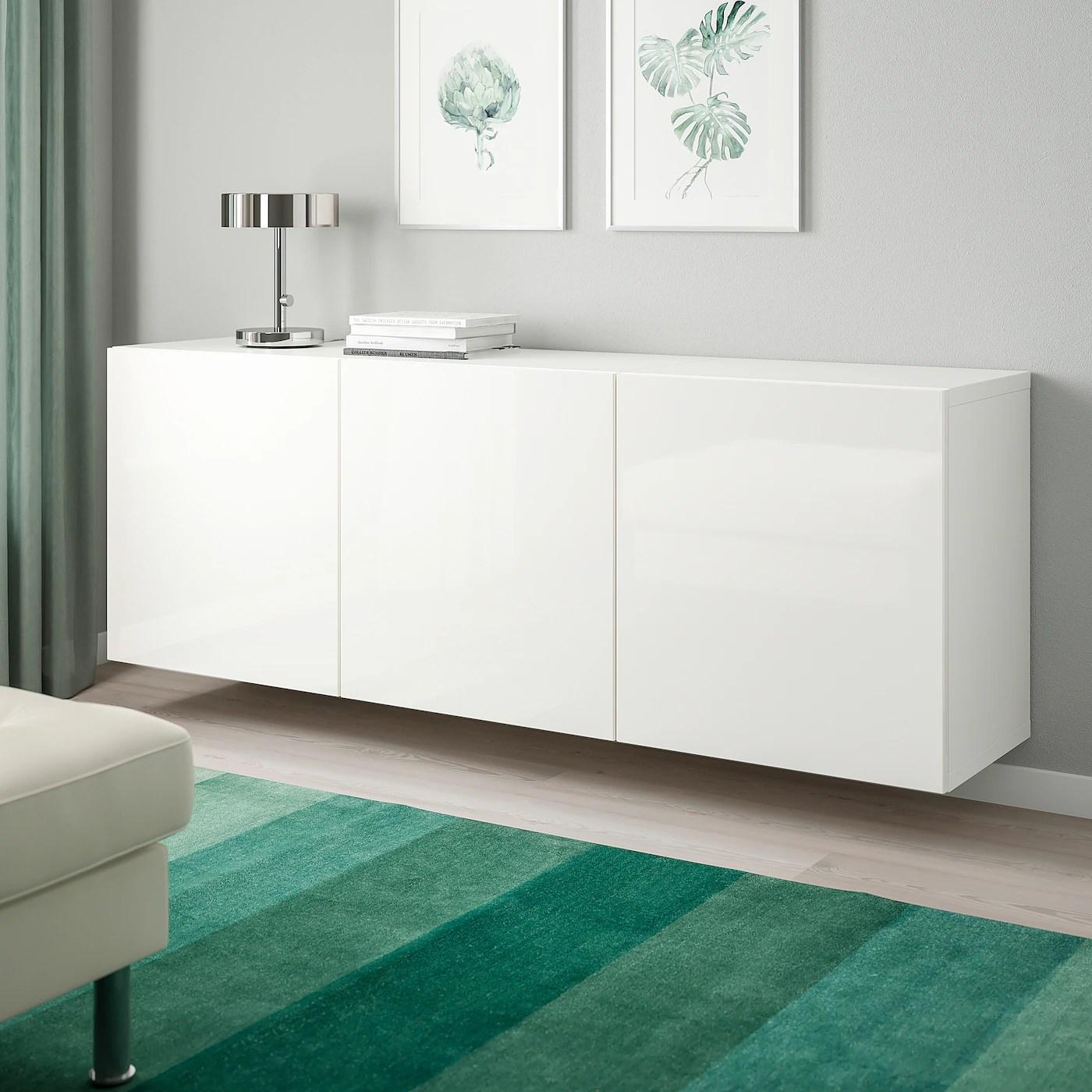 besta combinaison rangement murale blanc selsviken brillant blanc 180x42x64 cm