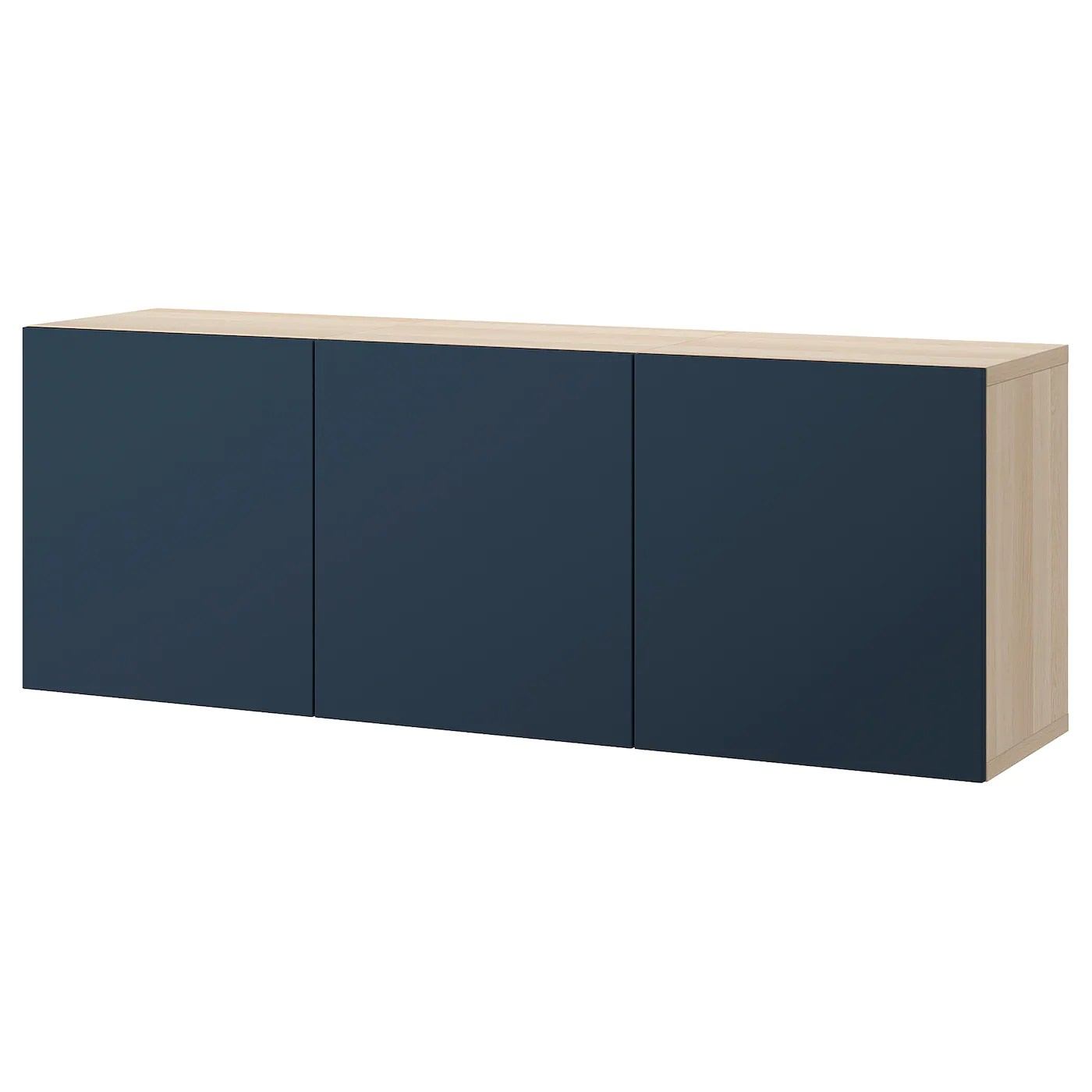 besta combinaison rangement murale effet chene blanchi notviken bleu 180x42x64 cm