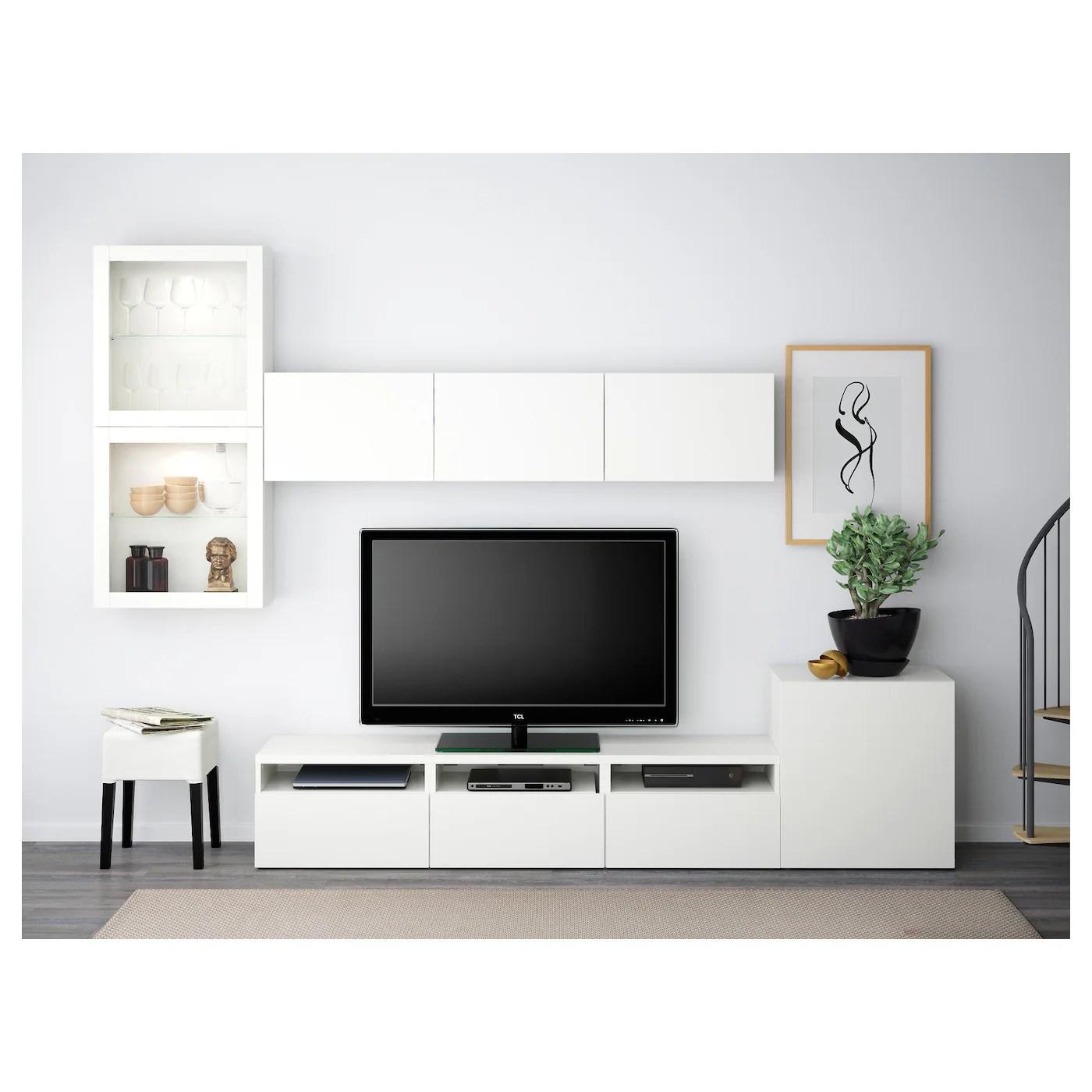 besta rangement tv vitrines blanc lappviken blanc verre transparent 300x42x211 cm