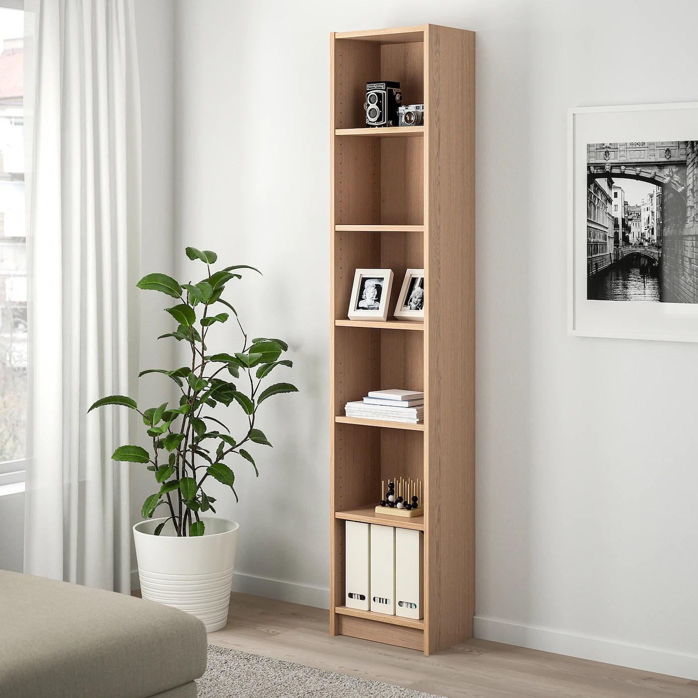 billy bibliotheque plaque chene blanchi 40x28x202 cm