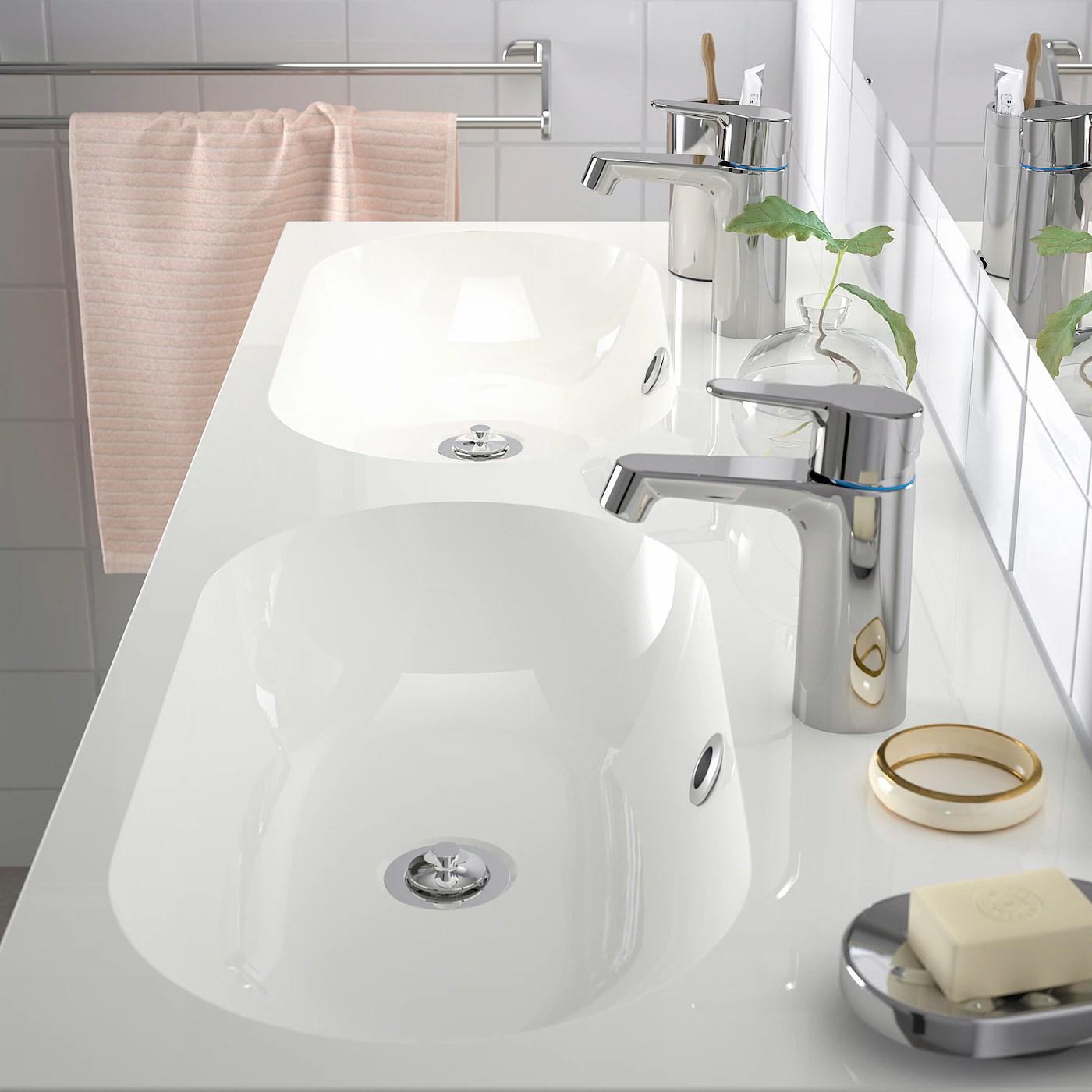 braviken double vasque blanc 120x48x10 cm
