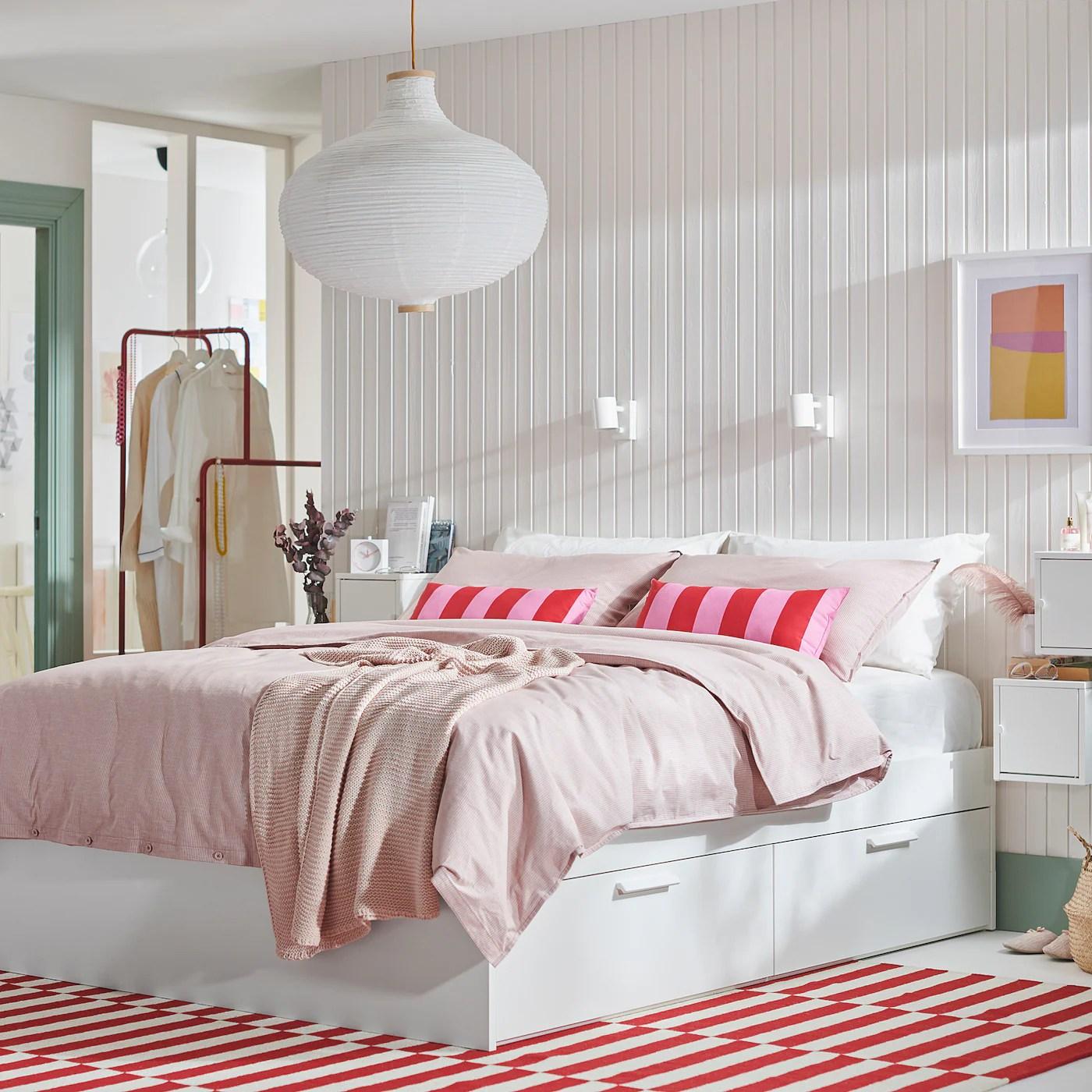 brimnes cadre lit avec rangement blanc 140x200 cm