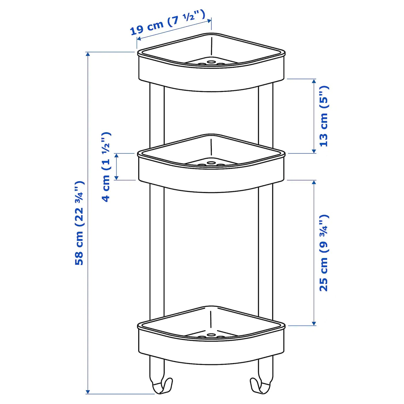 brogrund etagere d angle acier inoxydable 19x58 cm