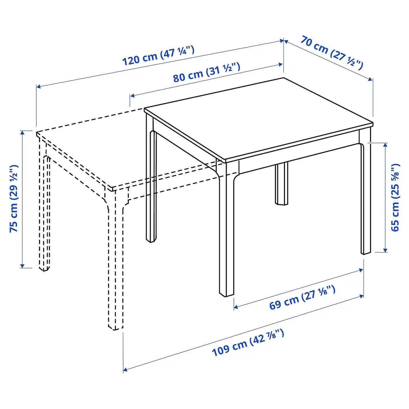 ekedalen table extensible blanc 80 120x70 cm