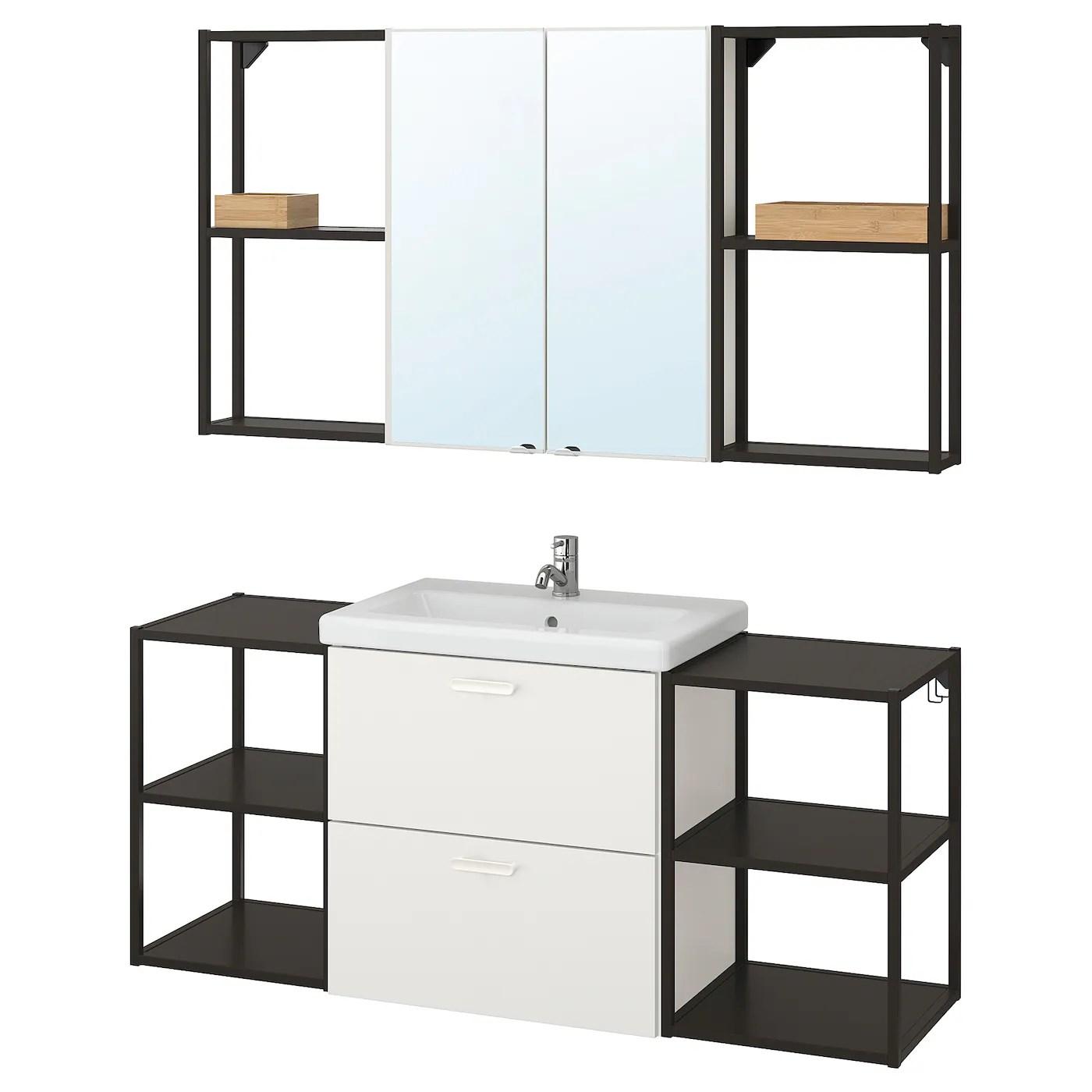 Enhet Tvallen Mobilier Salle De Bain 18 Pieces Blanc Anthracite Pilkan Mitigeur Lavabo Ikea