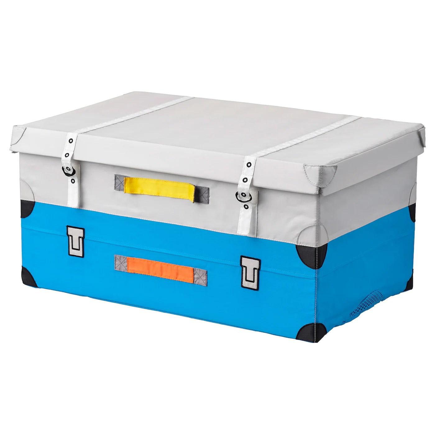 flyttbar coffre a jouets turquoise 57x35x28 cm