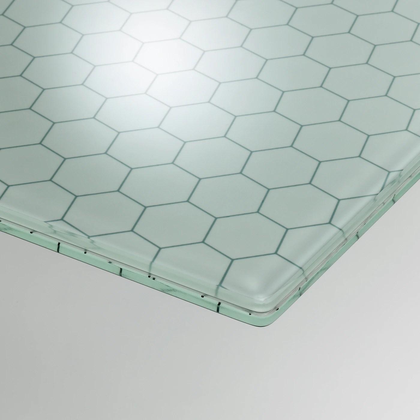 glasholm plateau verre motif nid d abeille 148x73 cm