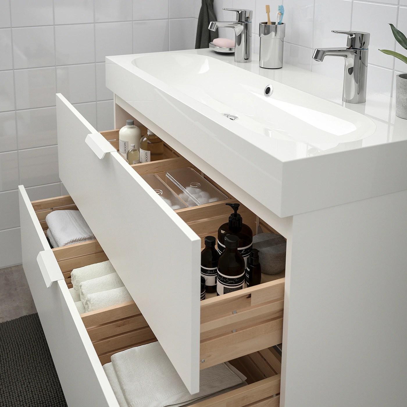 godmorgon braviken meuble lavabo 2tir blanc mitigeur lavabo brogrund 100x48x68 cm