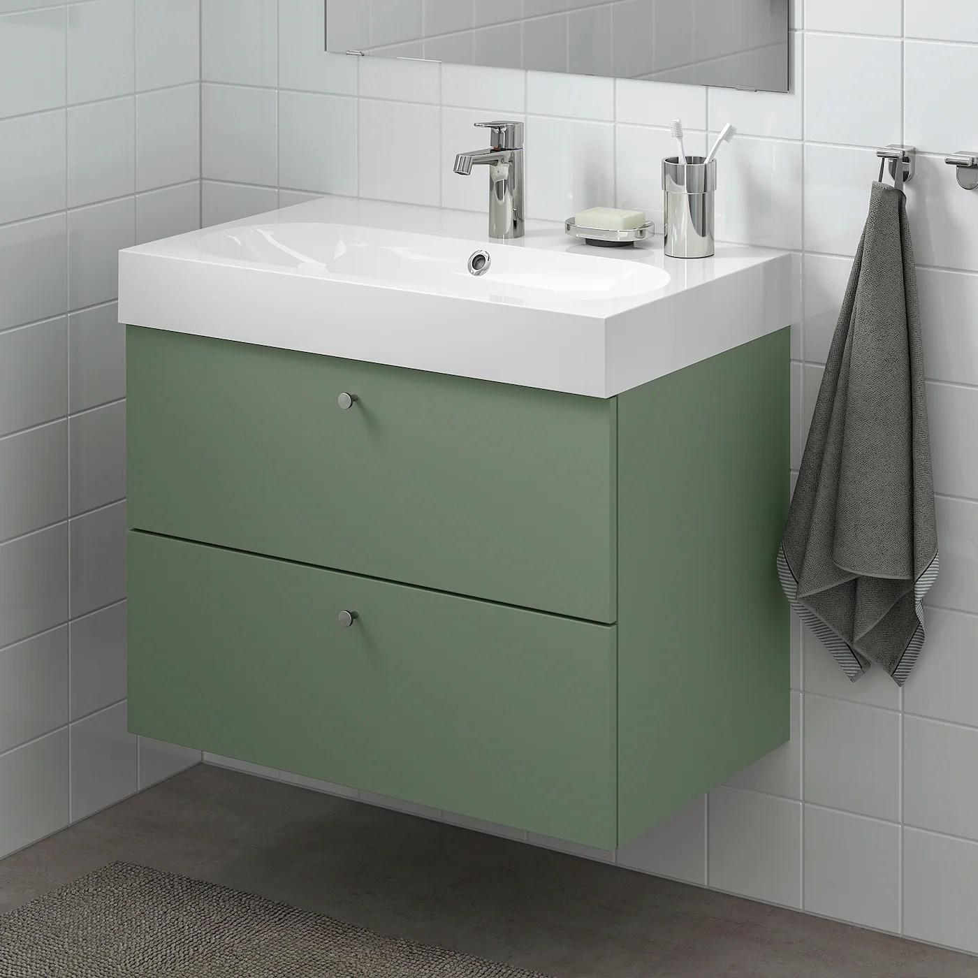 godmorgon meuble lavabo 2tir gillburen gris vert 80x47x58 cm