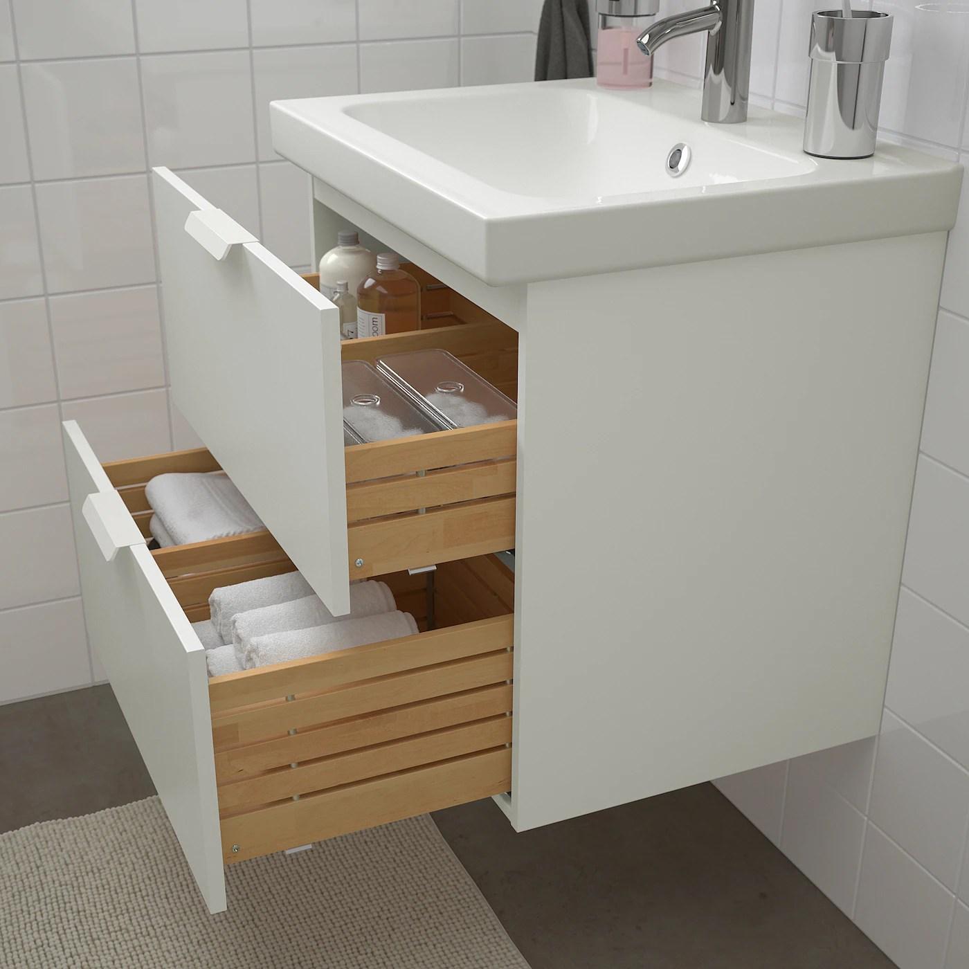 Godmorgon Odensvik Mobilier Salle De Bain 4 Pieces Blanc Dalskar Mitigeur Lavabo 63 Cm Ikea