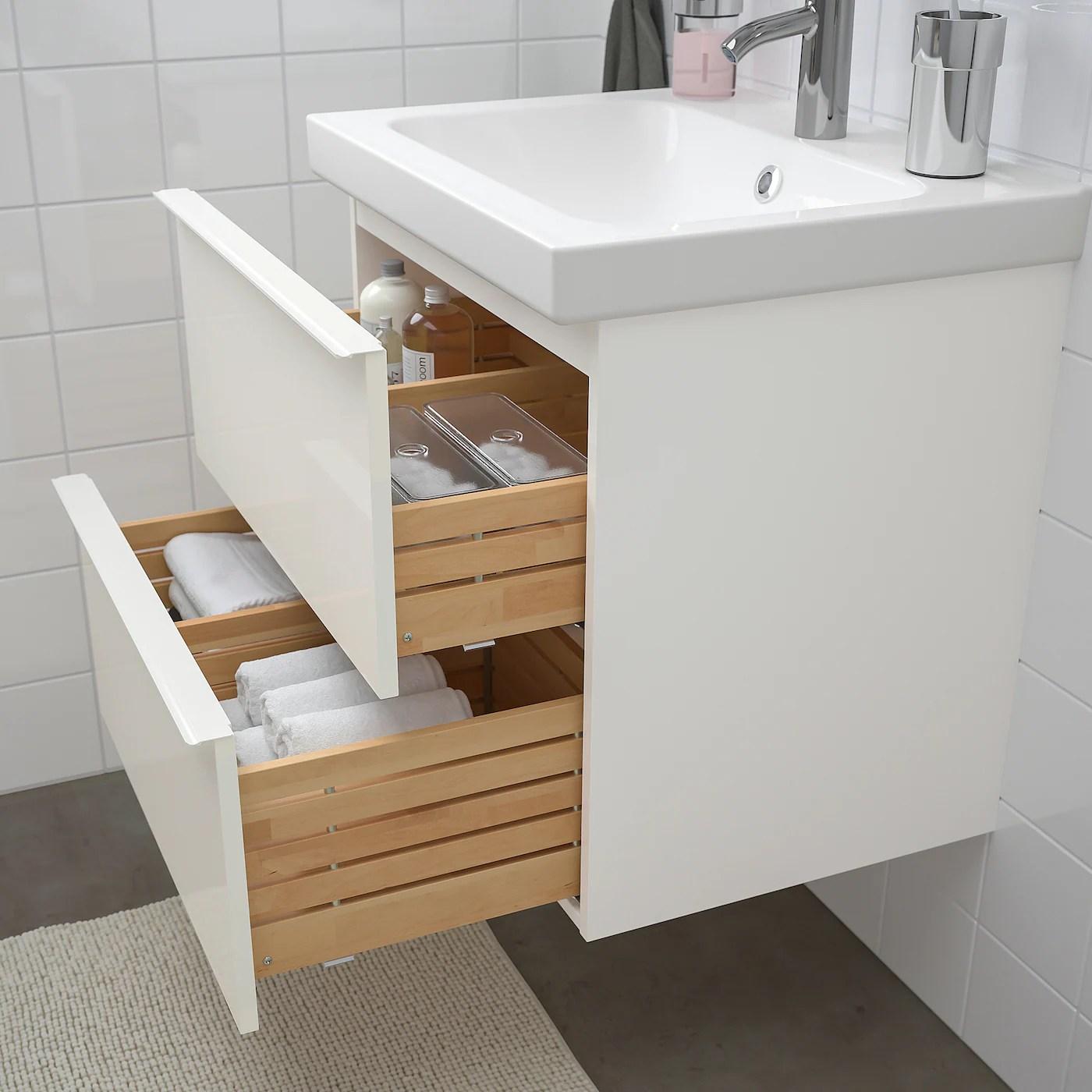Godmorgon Odensvik Mobilier Salle De Bain 4 Pieces Brillant Blanc Dalskar Mitigeur Lavabo 63 Cm Ikea