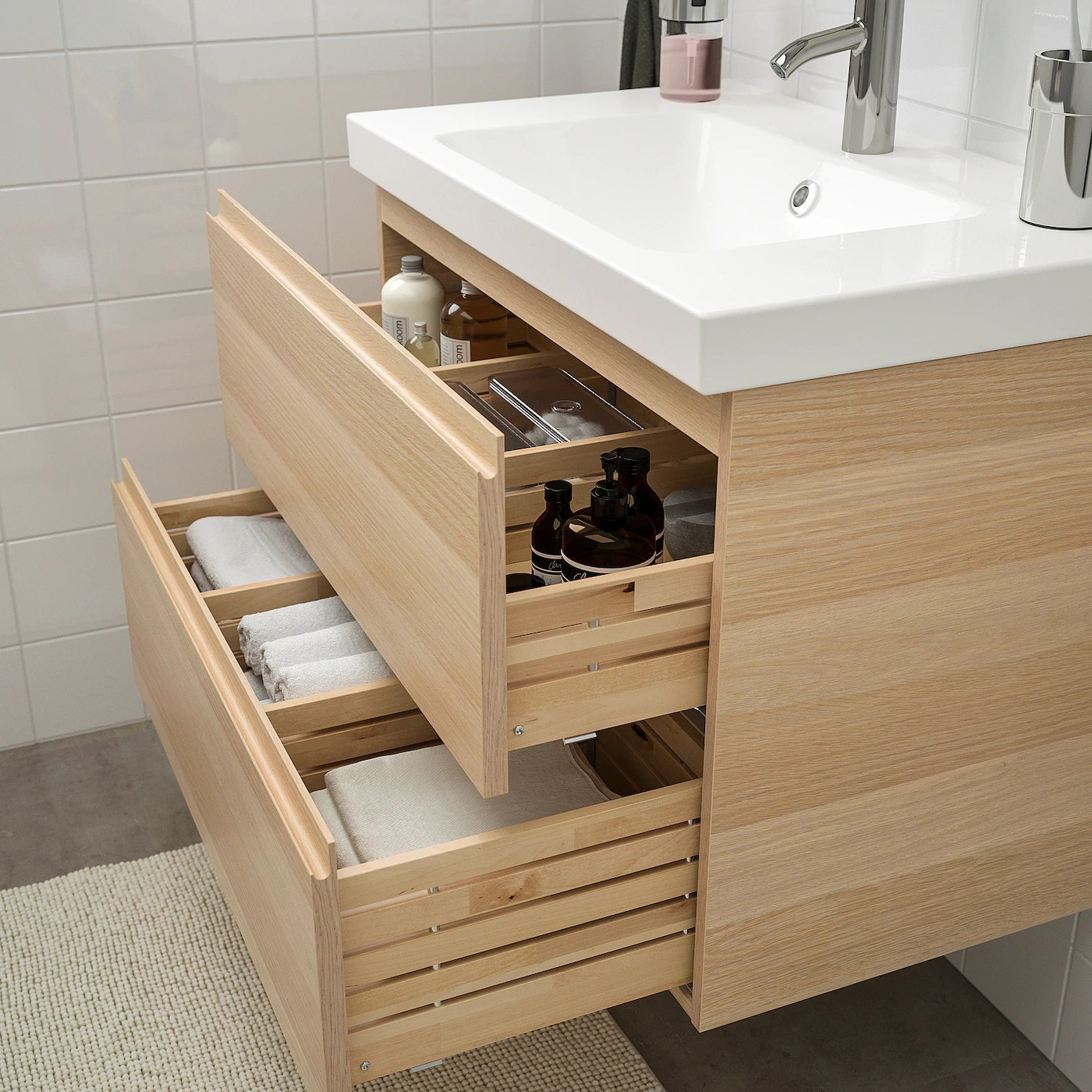 godmorgon odensvik mobilier salle de bain 4 pieces effet chene blanchi dalskar mitigeur lavabo 83 cm