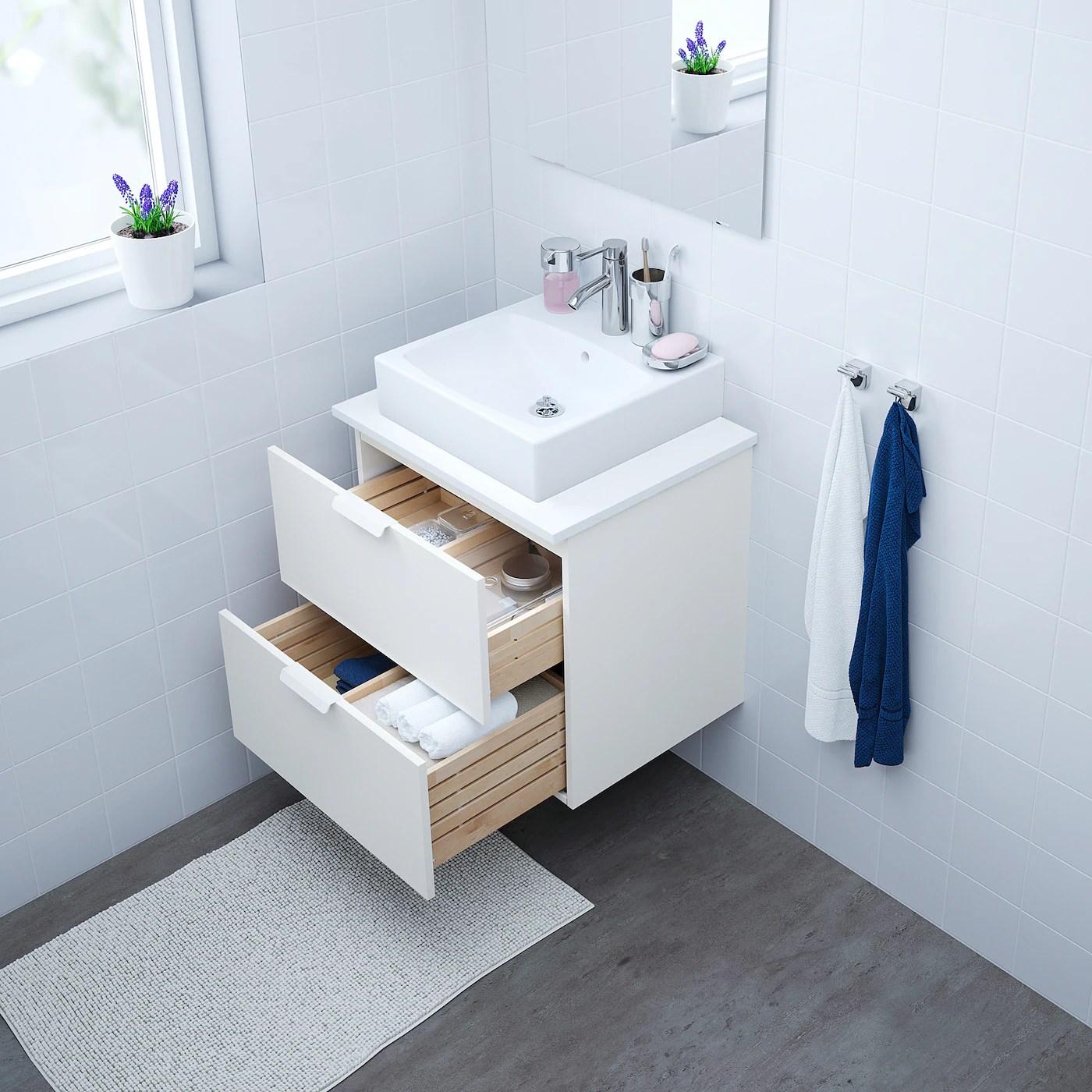 Godmorgon Tolken Tornviken Meuble Lavabo Av Lav A Poser 45x45 Blanc Blanc Dalskar Mitigeur Lavabo 62x49x72 Cm Ikea
