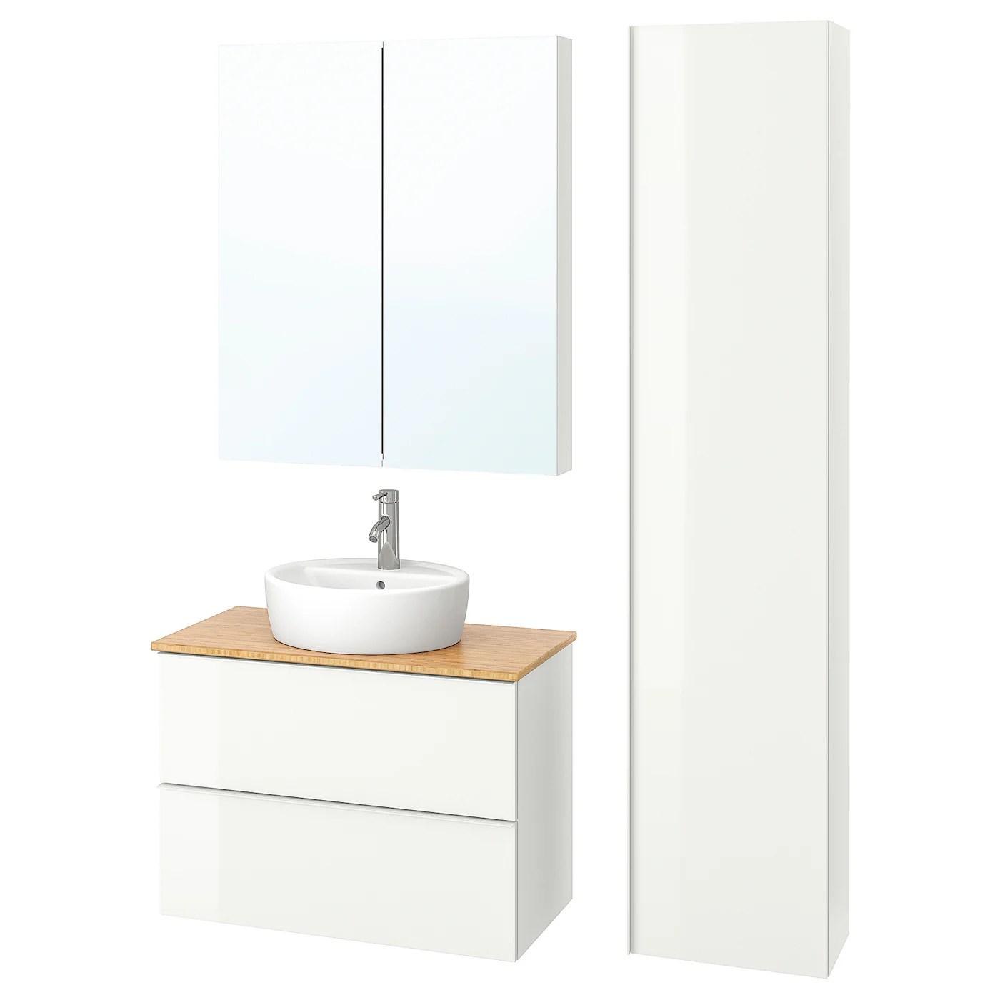 Godmorgon Tolken Tornviken Mobilier Salle De Bain 6 Pieces Brillant Blanc Bambou Dalskar Mitigeur Lavabo 82 Cm Ikea
