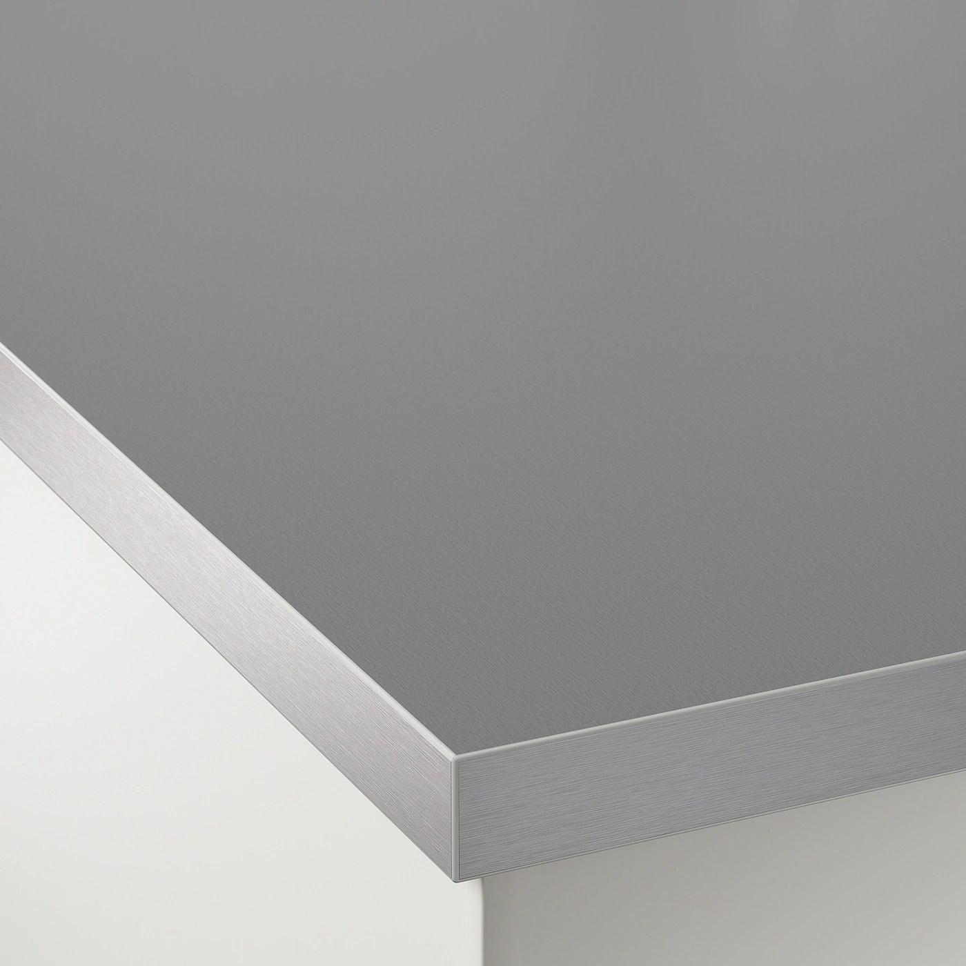 Hallestad Plan De Travail Double Face Blanc Motif Aluminium Motif Aluminium Chant Effet Metal Av Chant Effet Metal Stratifie 246x3 Ikea