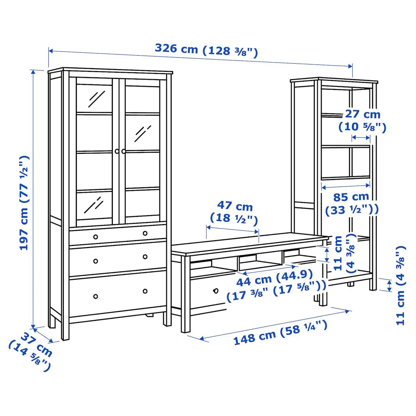 hemnes combinaison meuble tv teinte blanc brun clair verre transparent 326x197 cm