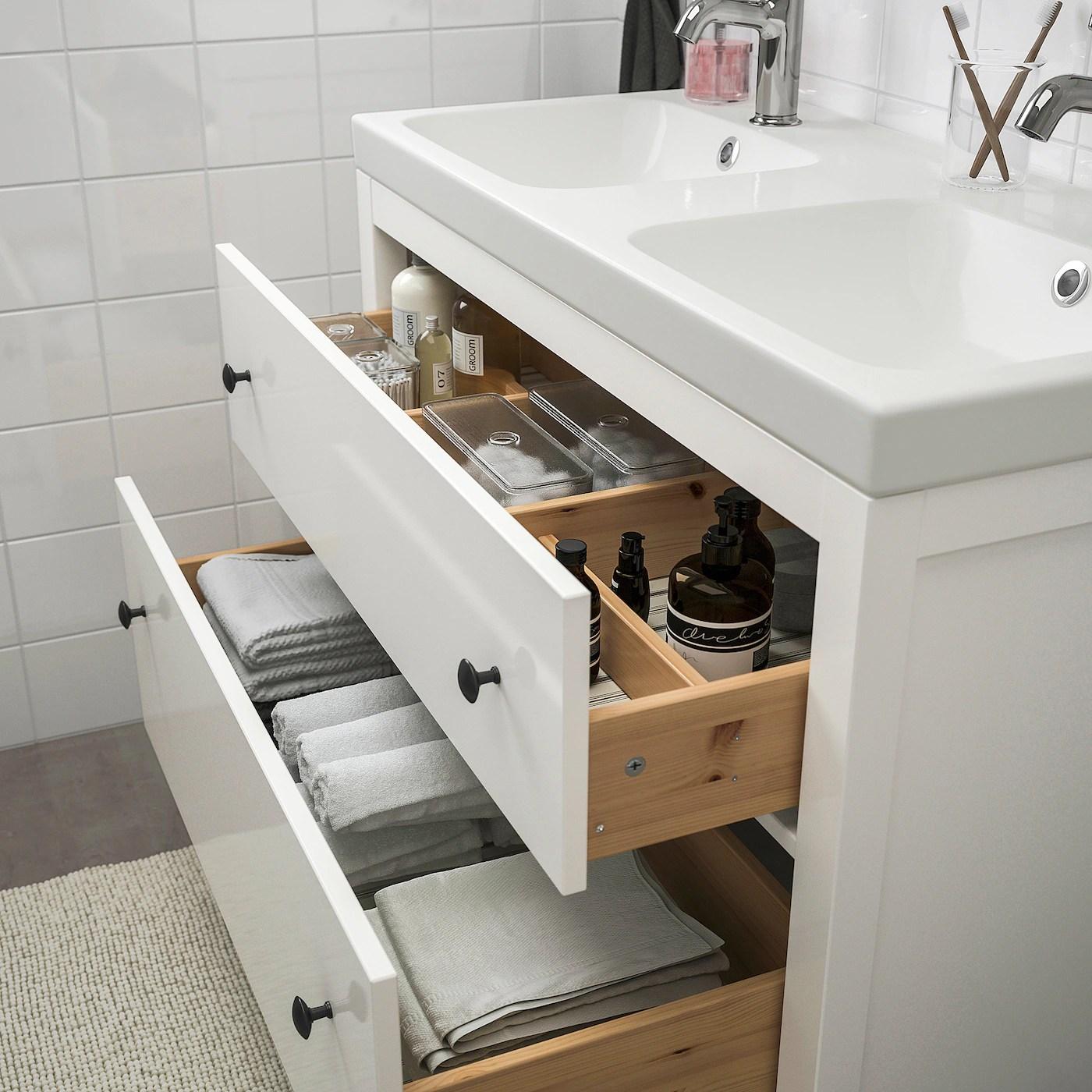 Hemnes Odensvik Mobilier Salle De Bain 5 Pieces Blanc Voxnan Mitigeur Lavabo Ikea