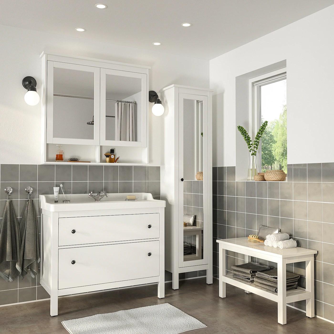 hemnes rattviken mobilier salle de bain 5 pieces blanc runskar mitigeur lavabo 102 cm
