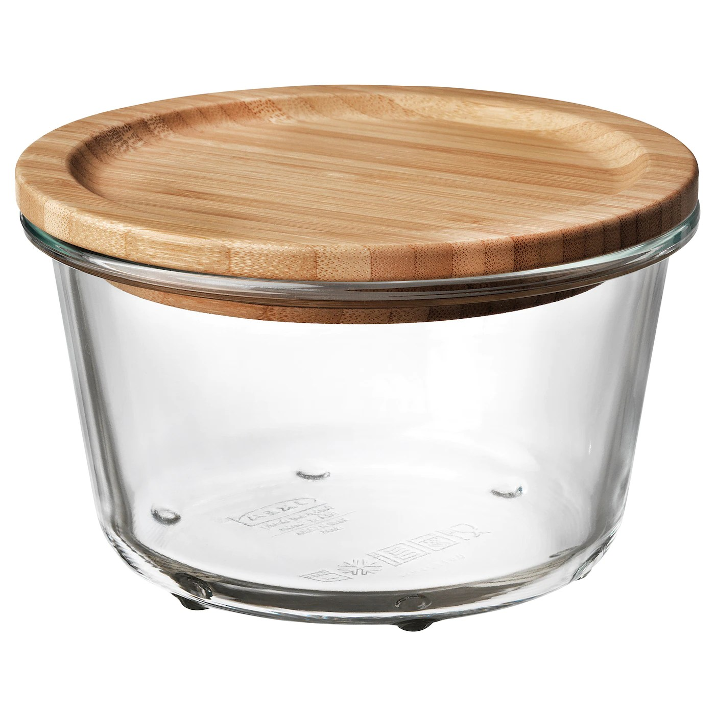 ikea 365 boite de conservation rond verre bambou 600 ml