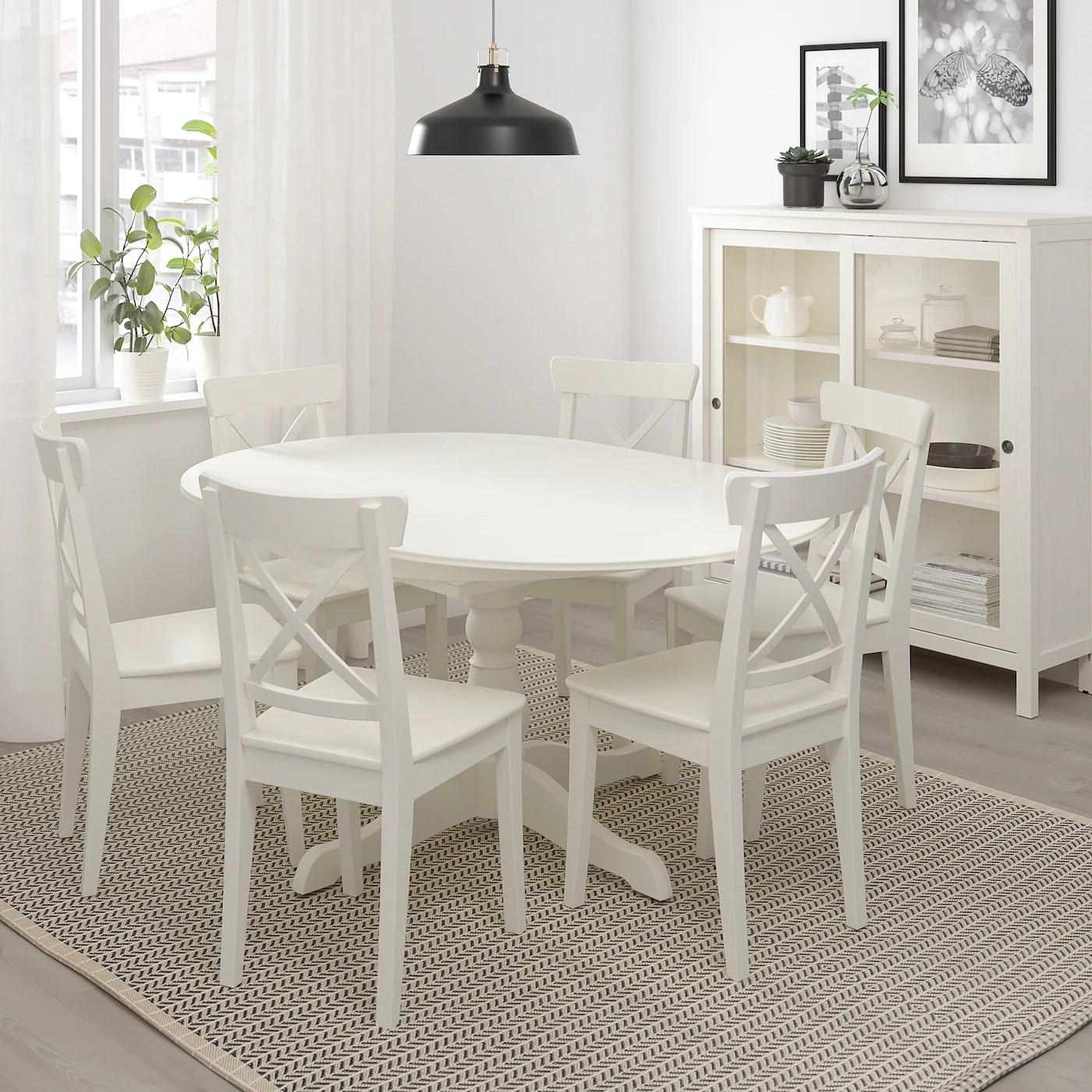 ingatorp table extensible blanc 110 155 cm