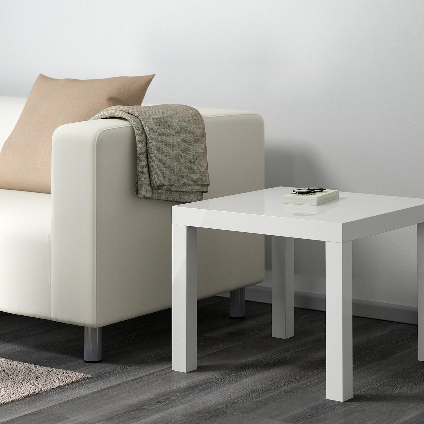 lack table d appoint brillant blanc 55x55 cm