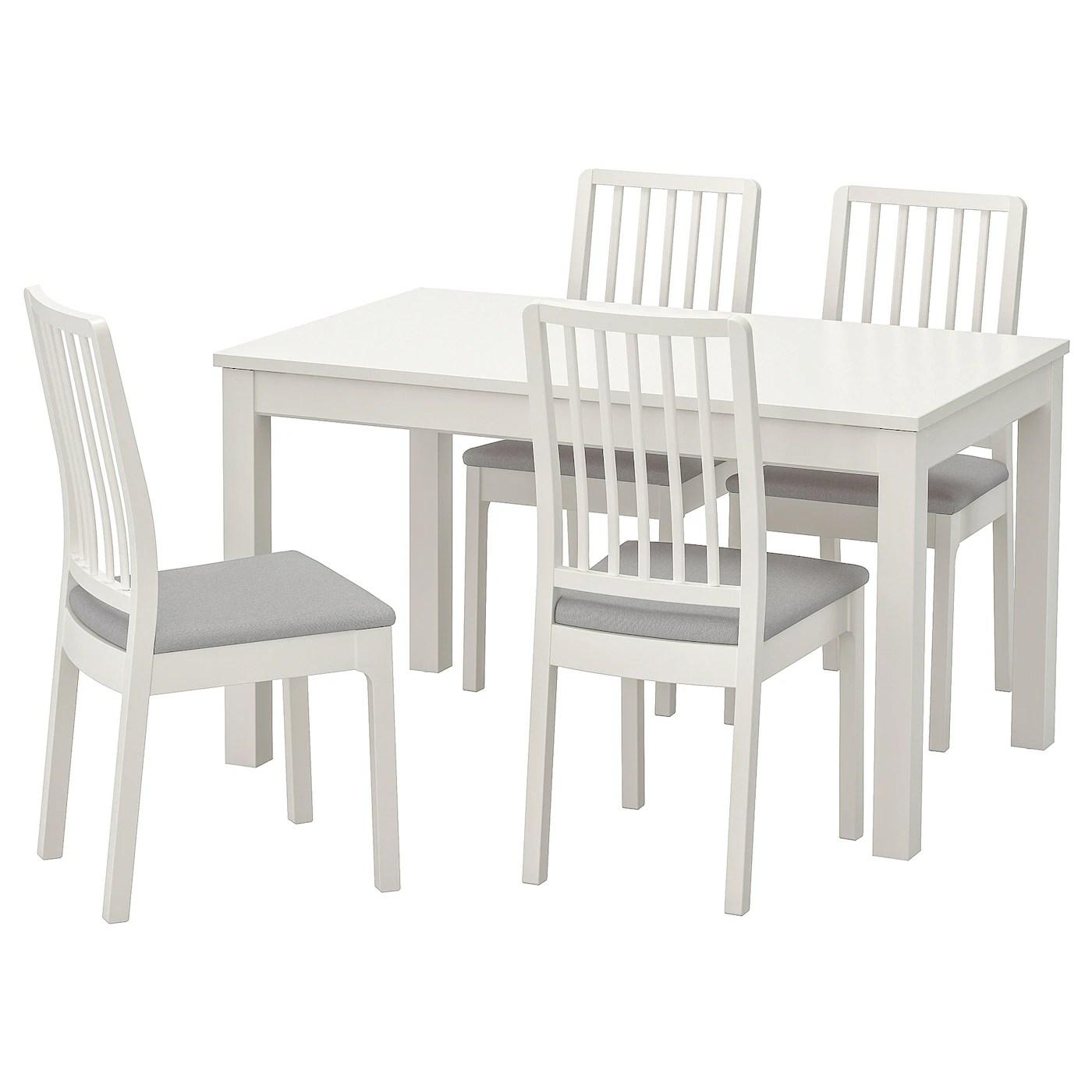 laneberg ekedalen table et 4 chaises blanc blanc gris clair 130 190x80 cm