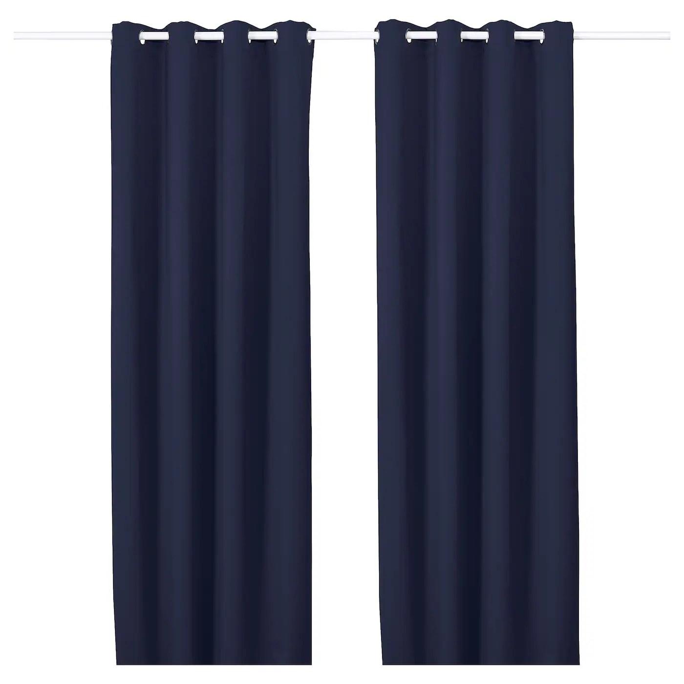 majgull rideaux occultant 2 pieces avec oeillets bleu fonce 145x300 cm