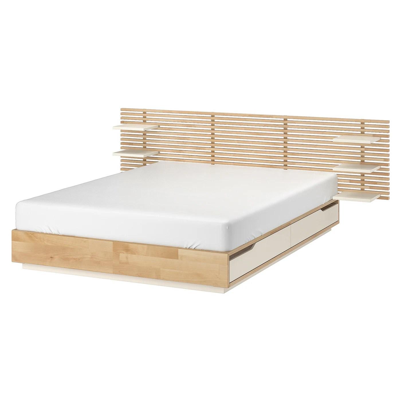 Mandal Structure Lit Avec Tete De Lit Bouleau Blanc 160x202 Cm Ikea