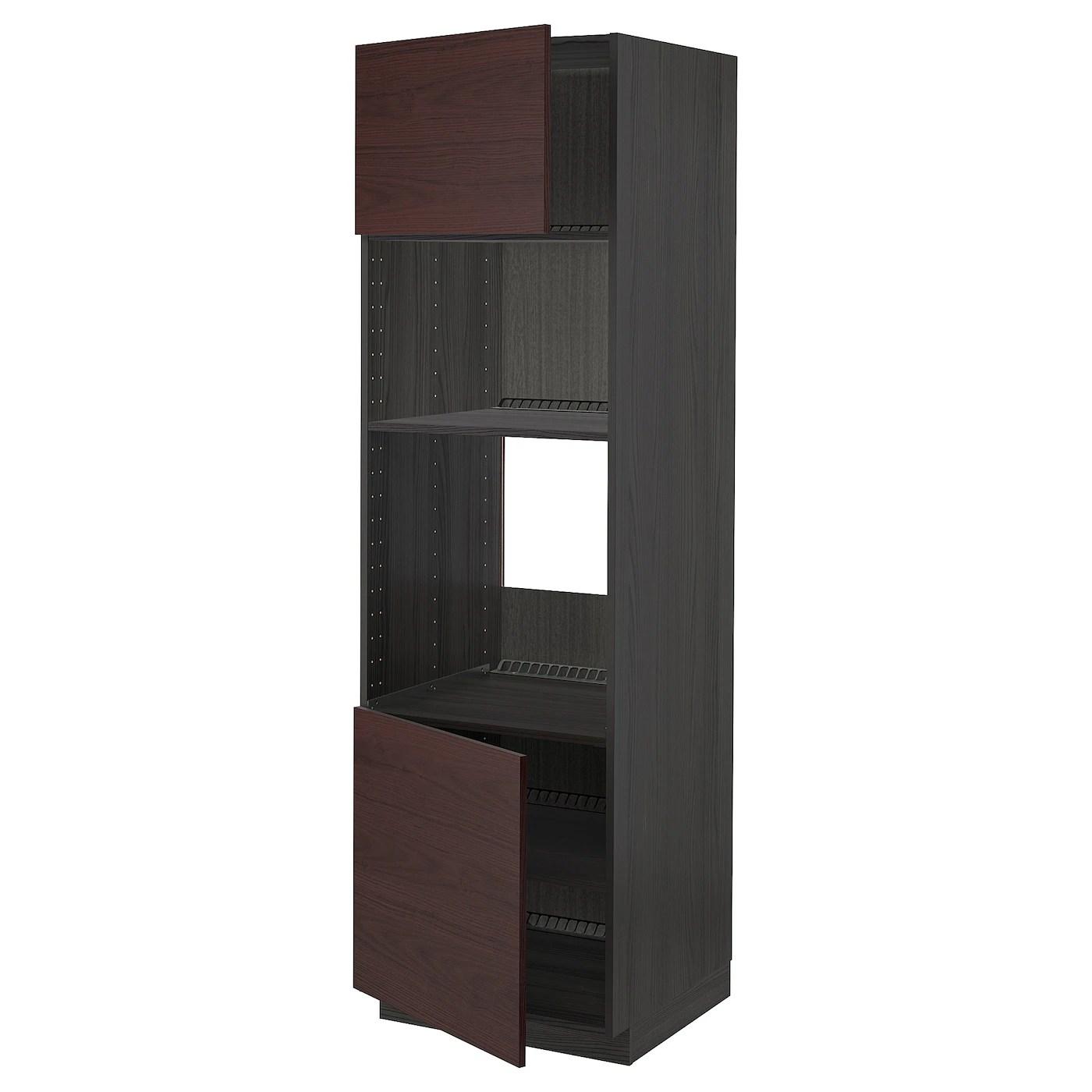 metod armoire four micro ondes 2portes tb noir askersund brun fonce decor frene 60x60x200 cm