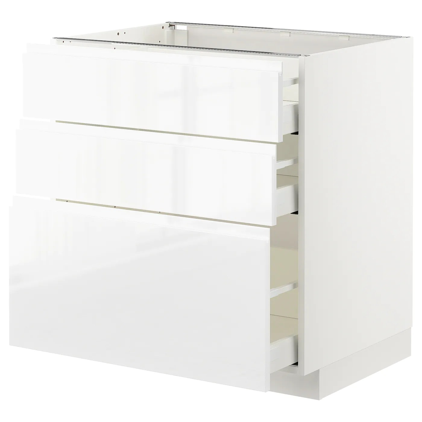 metod maximera element bas 3 tiroirs blanc voxtorp brillant blanc 80x60 cm