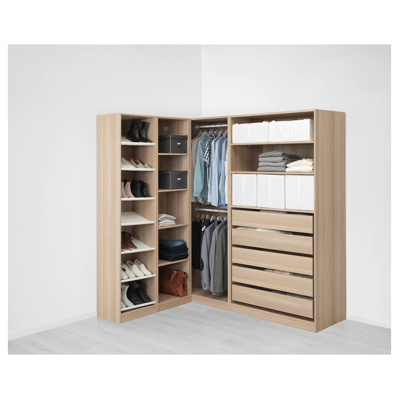 pax armoire d angle effet chene blanchi 160 188x201 cm