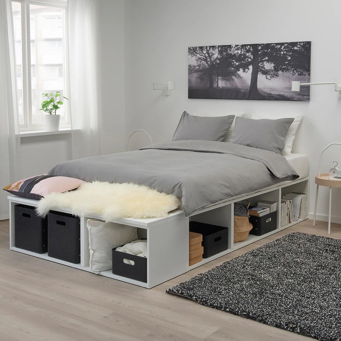 platsa cadre lit avec rangement blanc 140x200 cm