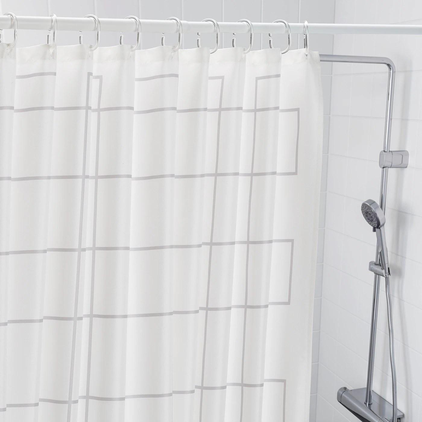 rallsjon rideau de douche blanc gris 180x200 cm