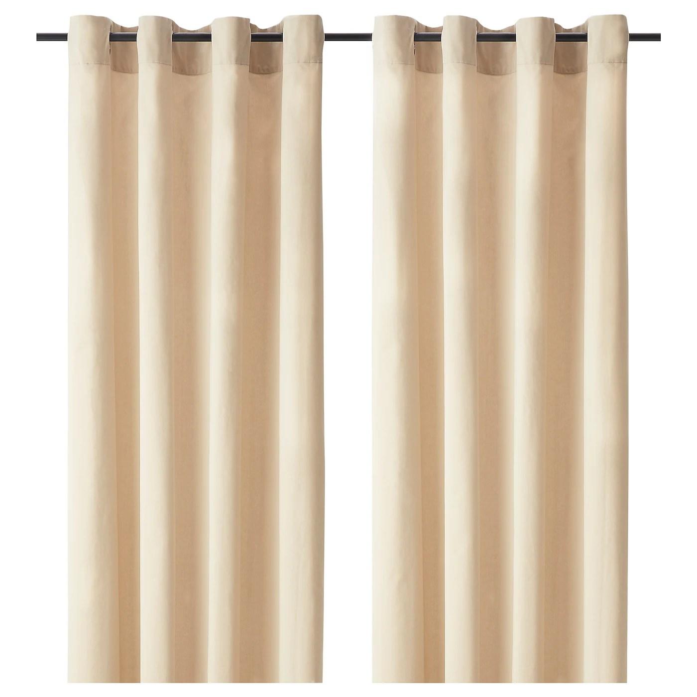 sanela rideaux 2 pieces beige clair avec oeillets 140x300 cm