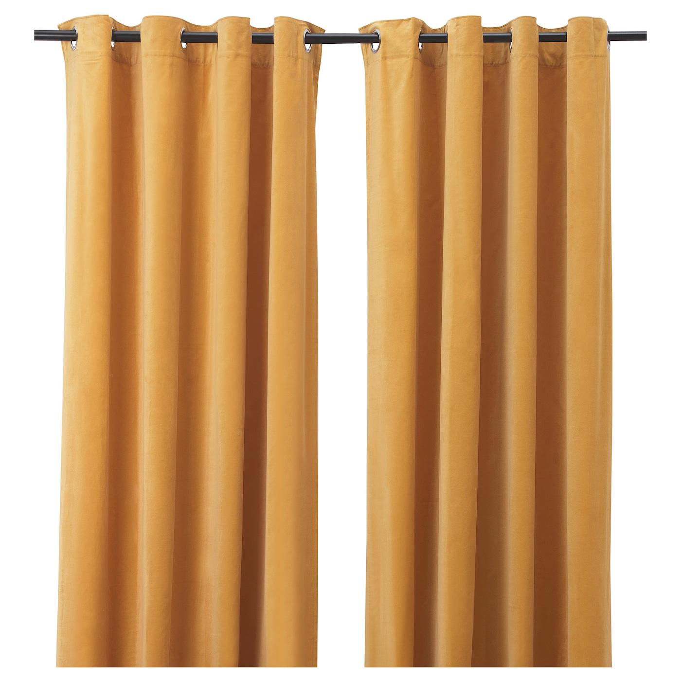 sanela rideaux 2 pieces brun dore avec oeillets 140x300 cm