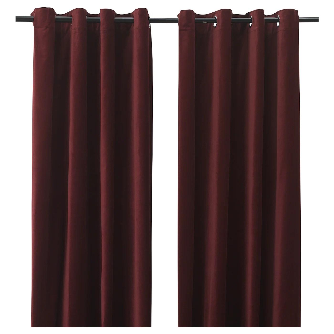 sanela rideaux 2 pieces rouge fonce avec oeillets 140x300 cm