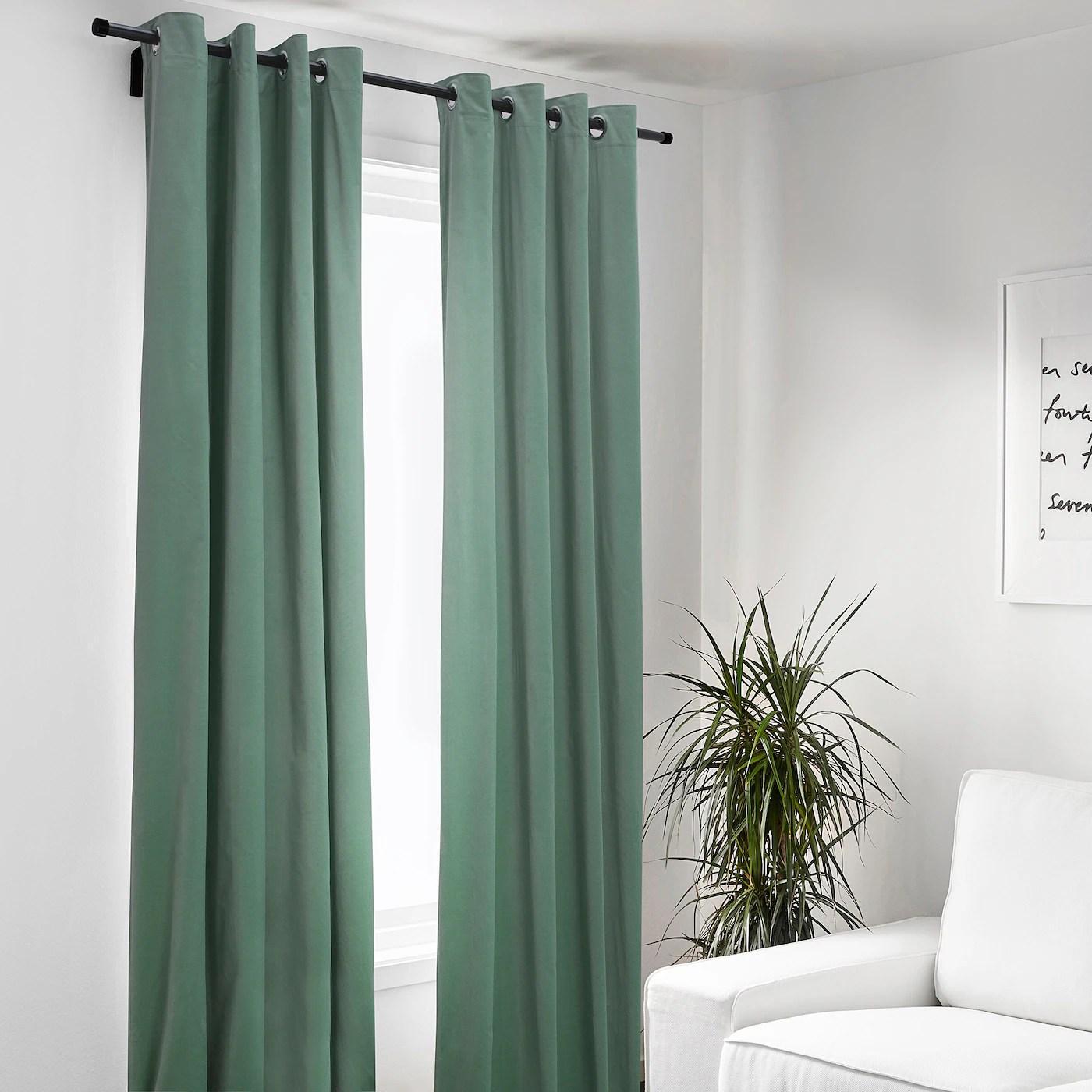 sanela rideaux 2 pieces vert clair avec oeillets 140x300 cm